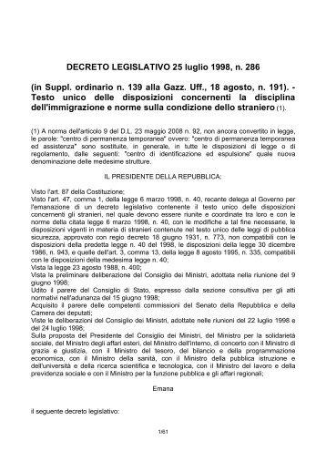 DECRETO LEGISLATIVO 25 luglio 1998, n. 286 ... - Governo Italiano