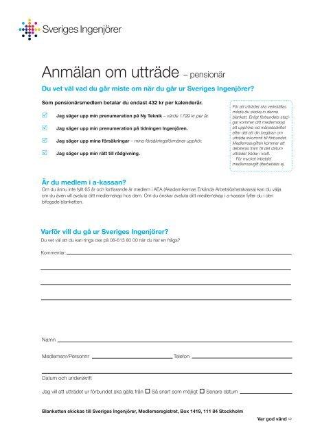 anmälan om utträde pens.indd - Sveriges ingenjörer