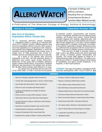 Vol. 2, No. 5 - American College of Allergy, Asthma and Immunology