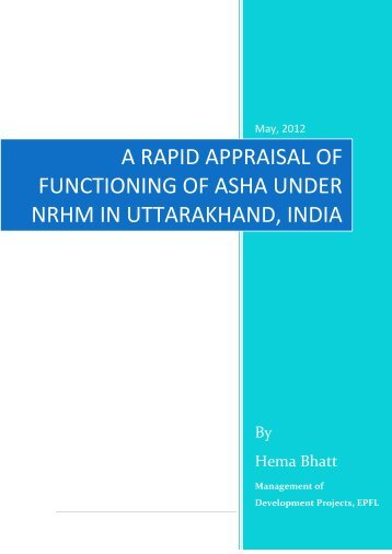a rapid appraisal of functioning of asha under nrhm in uttarakhand ...