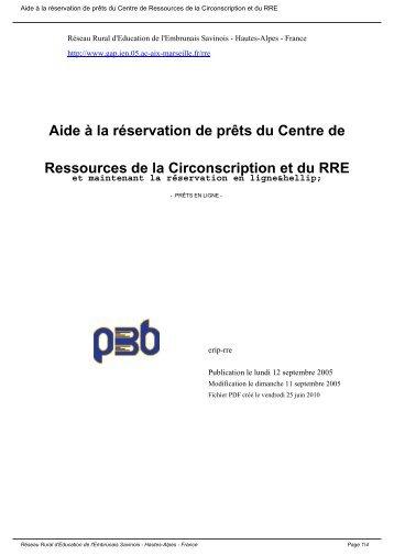 Aide à la réservation de prêts du Centre de Ressources de la ...