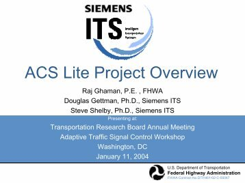 ACS Lite Project Overview - Traffic Signal Systems Committee