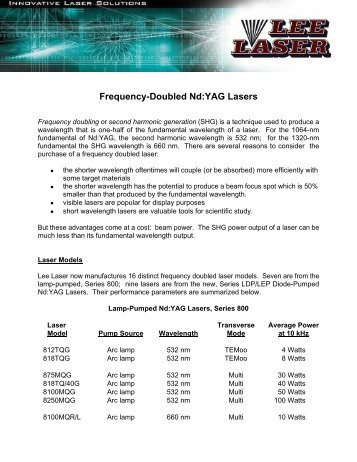 Frequency-Doubled Nd:YAG Lasers - Lee Laser, Inc.