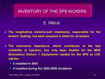Inventory of the SPS Kickers - CERN