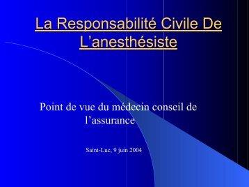 La Responsabilité Civile De L'anesthésiste - virtanes