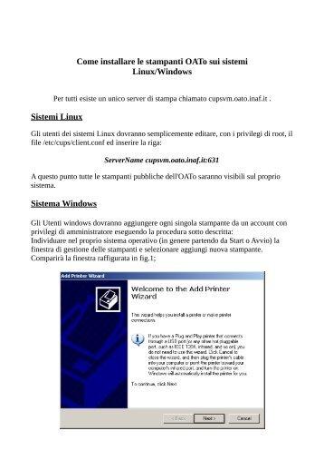 Come installare le stampanti OATo sui sistemi Linux/Windows ... - Inaf