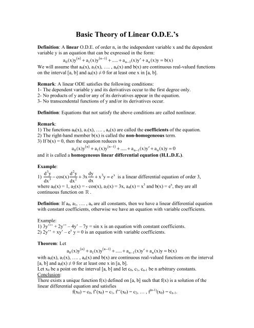 Basic Theory of Linear ODE's