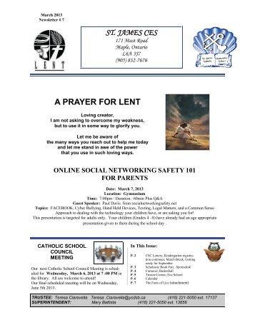 March 2013 Newsletter - St. James Catholic Elementary School