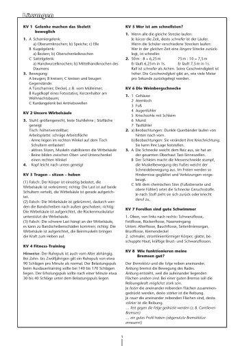Arbeitsblatt 3 - Lösungen: Bewegungen und Nervensystem