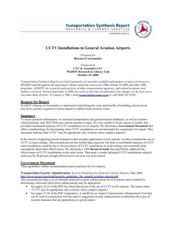 CCTV Installations in General Aviation Airports - WisDOT Research