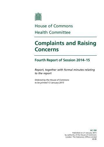 HSC-Complaints-Concerns-Report-Jan-2015