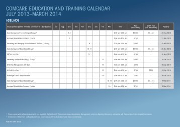 Comcare Education and Training calendar July 2013 – March 2014