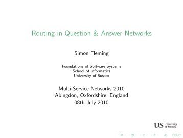 Routing in Question & Answer Networks - University of Sussex