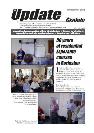Ĝisdate 51, oktobro-decembro 2010 - Esperanto Association of Britain