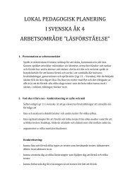 lokal pedagogisk planering i svenska åk 4 arbetsområde