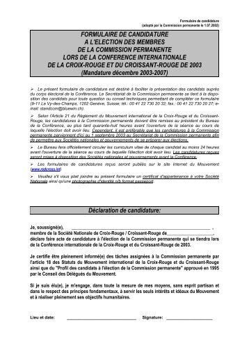 Formulaire de candidature - International Red Cross and Red ...
