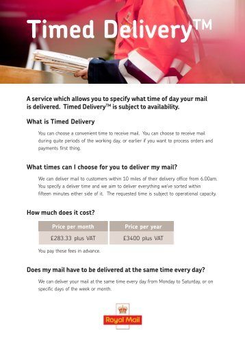 download, print and complete the Timed Delivery ... - Royal Mail