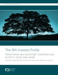 The IRA Investore Profile: Appendix - Investment Company Institute