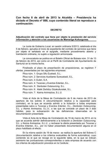 Adjudicación 08/04/2013 (PDF 76Kb) - Ayuntamiento de Santurtzi