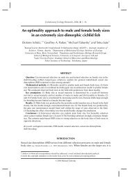 An optimality approach to male and female body sizes - Behavioural ...