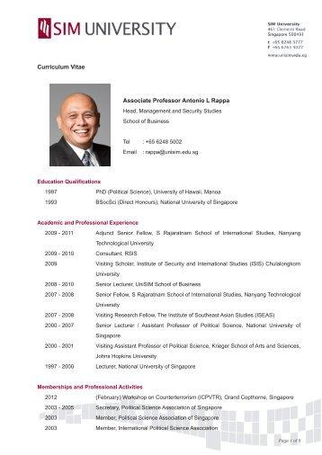 Curriculum Vitae Associate Professor Antonio L ... - SIM University