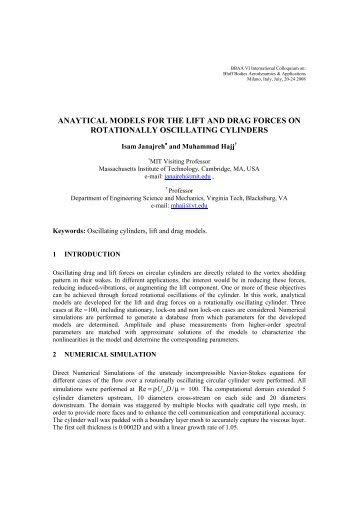 anaytical models for the lift and drag forces on rotationally ... - BBAA VI