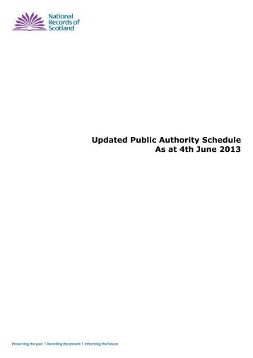 Updated Public Authority Schedule - National Archives of Scotland