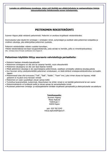 Peitenimen rekisteröinti (pdf) (151.3 KB) - Hippos