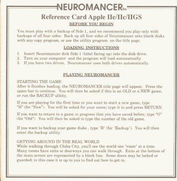 Neuromancer Reference Card - Virtual Apple