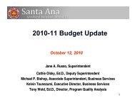 2010-11 Budget Update - Santa Ana Unified School District