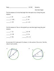 Name U13 #2 Geometry Inscribed Angles Find the measure of an ...