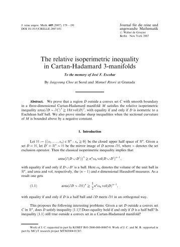 The relative isoperimetric inequality in Cartan-Hadamard 3 ... - KIAS