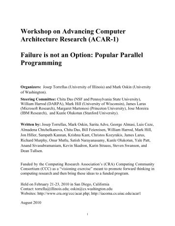Popular Parallel Programming - Computing Research Association