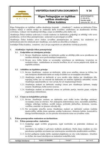 V 34 Rīgas Pedagoģijas un izglītības vadības akadēmijas ... - rpiva