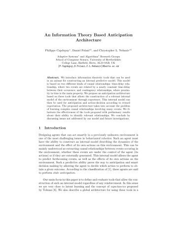 An Information Theory Based Anticipation Architecture