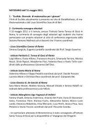 Notizario dell' 11 maggio 2011 - Euclide. Giornale di matematica per ...