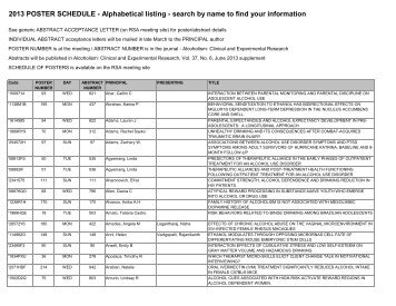 Poster Schedule list by Author - Research Society on Alcoholism