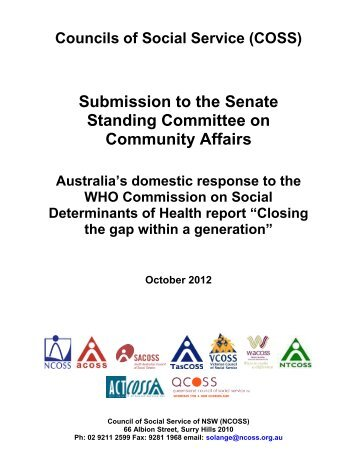 Joint COSS submission to the Senate on Social Determinants of ...