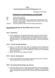 3. März 2009 - Protokoll der Vorstandssitzung - Weldergoven