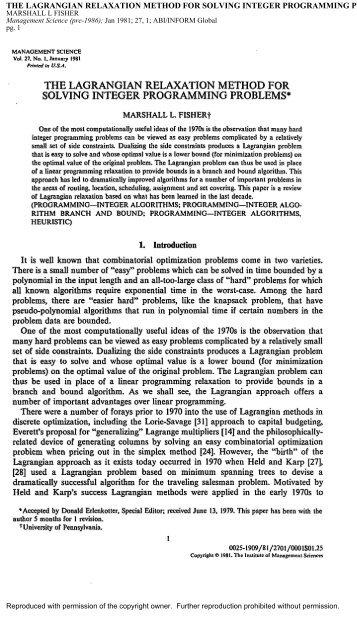 the lagrangian relaxation method for solving integer programming ...