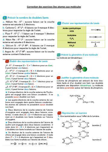 Correction des exercices Des atomes aux molécules - Webnode