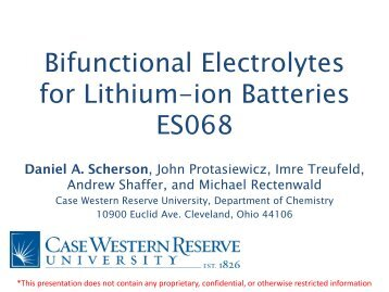 Bifunctional Electrolytes for Lithium-ion Batteries - EERE