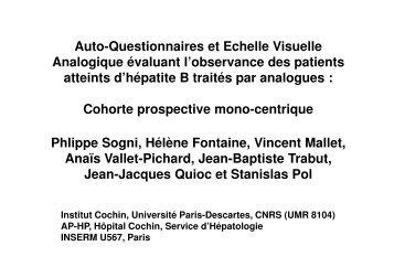 Auto-Questionnaires (AQ) et Echelle Visuelle Analogique (EVA) - Afef