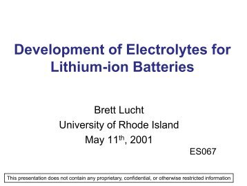 Development of Electrolytes for Lithium-ion Batteries - EERE