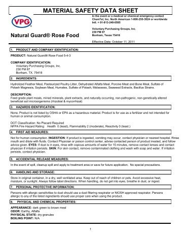 MSDS Rose Food (30 KB) - Fertilome