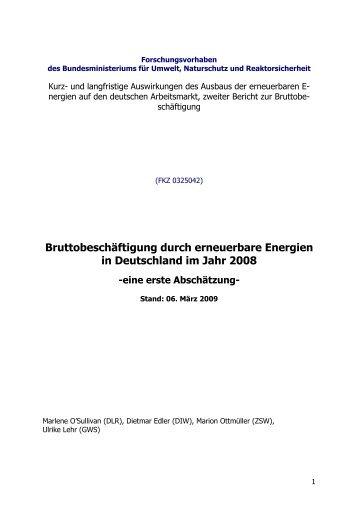 Bruttobeschäftigung durch erneuerbare Energien in Deutschland im ...