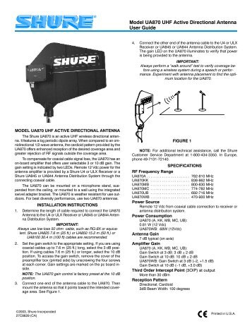 Model UA870 UHF Active Directional Antenna User Guide