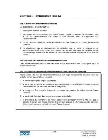 - 100 - CHAPITRE XI : STATIONNEMENT HORS-RUE Les ...