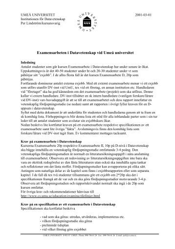 Riktlinjer för studenter och handledare - Umeå universitet
