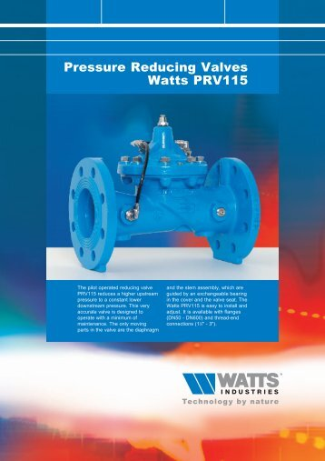 Pressure Reducing Valves Watts PRV115 - Watts Industries